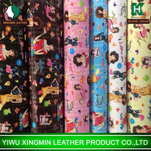 Fashional girl lady design PVC printing synthetic leather for bags