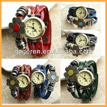 5X Color Hot 2013 Vintage 2 Wrap Flower Stud Women Fashion Braided Watch MA017