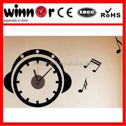 "18.5"" Music,ear phone design wall sticker clock,fancy decorative wall clock"