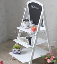 eco-friendly folding wood ladder shelf,display wooden shelf