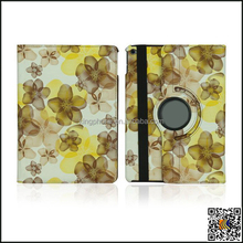 for ipad 6 flower pattern rotating laptop leather case, portable flip leather cover for ipad air 2