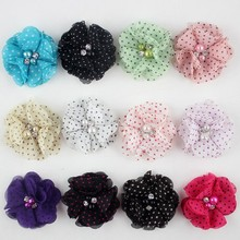 Wholesale fashion hair accessories fascinator 13 colors dots chiffon flower with pearl and rhinestone
