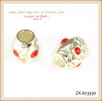 The new summer fashion silver big hole beads, with a red rhinestone ,decorative beads curtains ZX-A23330
