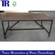 dining table for restaurant,solid wood dining table with metal base,rectangle vintage dining table