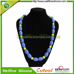 Food grade bright colors beads baby silicone teething necklace