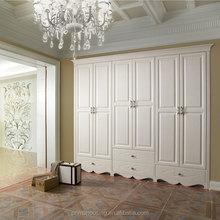 Latest customized wardrobe solid wood furniture bedroom furniture three doors wardrobe solid wood wardrobe