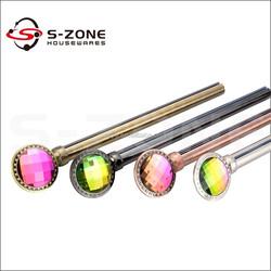 2015 new design bay window decorative metal pipes crystal diamond curtain rods