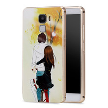 High Quality Aluminum Metal Bumper Frame + PC 3D Printing Back Cover Case For Huawei Honor 7