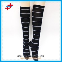 School girl stripe dress sexy stocking,fashion compression stocking,black color tube stocking