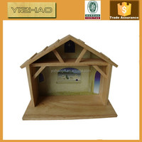 Made in China Christmas unfinished homemade cheap outdoor Antique wood nativity scene craft