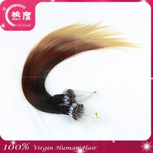 Straigtht ombre micro loop ring hair extension easy loop 1g micro bead brazilian hair extension