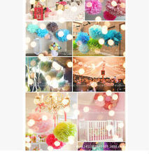 Colorful Tissue paper Craft Pom Pom for wedding & Birthday parties
