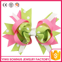 Stock Best selling fashion grosgrain ribbon bow hair clips colorful fancy hair clips