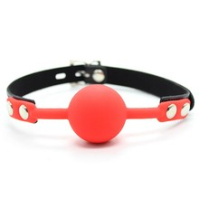 10pcs/lot Big Size Silicone & PU Leather Lover's Mouth Gag Ball with Lock sex Bondage Mouth Stuffed Adult Game Sex Toys XN0044