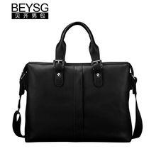 Hot selling real leather men laptop bag black leather brand men handbag
