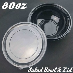 Disposable 80oz Plastic Deli Catering Take Out Salad Bowl And Lid