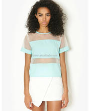 2014 Lady's Fashion Top with Mesh Contrast