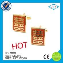 Fashion jewelry Red color metal wedding cufflinks for couple 's gifts