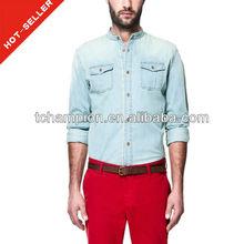( # tg486sh) 2013 rojo de la moda de diseño de líneas 100% los hombres camisas de algodón