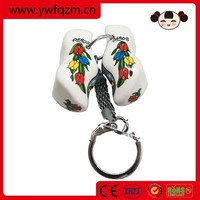 Chinese wooden mini shoes key chain