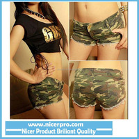 New Fashion Hot Sexy Korean Women Shorts/Skinny Denim Camouflage Frayed Low Waist Jean Shorts Women/Summer Women Clothing