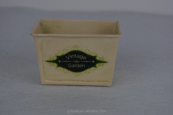 Mini yellow square metal flower pot with printing