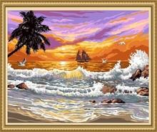40*50cm modern oil painting tree, sea wave oil painting