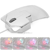 W19 Three Buttons Crystal Wired Gaming Mouse Comupter Mouse Mice with 7 Color Breath LED Lights for PC LaptopDeak top Pro Gamer