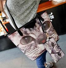 Fashion Girls Cute Handbags Cat Large Tote Bag