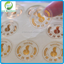 2014 High Quality Custom Transparent vinyl Sticker, Personalized Transparent Gold Hot Stamp Sticker Labels