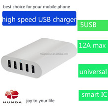 mobile accessories 5-port desktop portable multi usb phone charger for travel white&black