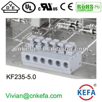 PCB button terminal block 5.0mm pitch aligned dual row pin clamp terminal for light LED KF235-3.5