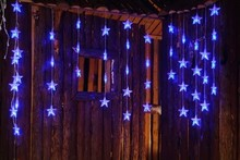 LED christmas home decorative star battery operated curtain light icicle light for holiday wholesale