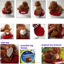 squirrel plush toy stuffed animal toy custom design logo print ,Stuffed with 100% Polyester plush squirrel