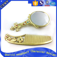 Antique Chinese style metal cosmetic set: mirror and comb