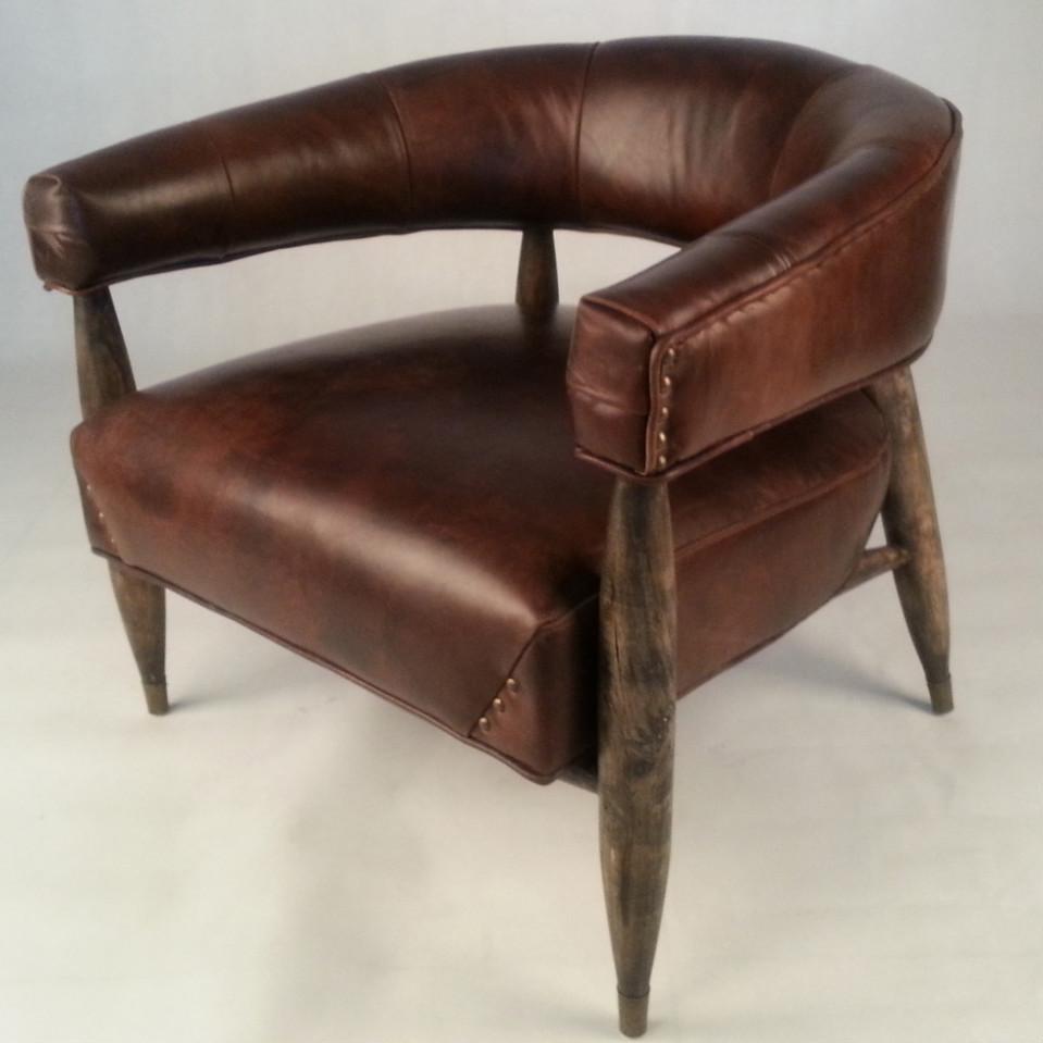 Vintage en cuir bois de ch ne kennedy restaurant chaise de for Chaise de salle a diner