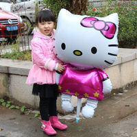116*68cm giant Hello Kitty Cat balloons cartoon birthday decoration wedding party inflatable air helium balloons walking stand