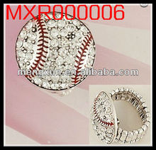 fashion Stretch Toe white Crystal baseball red stitching rings