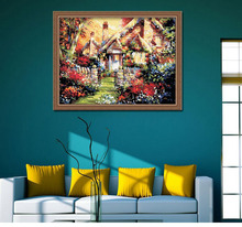 landscape country lodge DIY digital oil painting with frame