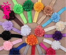 Fashion hot Selling 20 Style avaliable make fabric chiffon flower headband for kids