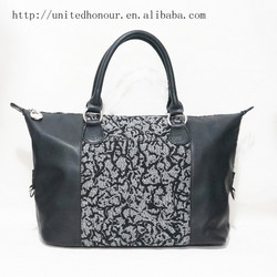 fancy crochet knitting bag wool felt young ladies metal zipper handbag ethnic bags