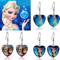 Frozen Jewelry Earrings Elsa Anna Princess Cartoon Heart Pendant Drop Dangle Earring