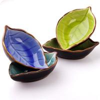 N190 Wholesale color cracked leaf meal flavor dish shape ceramic paste