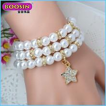 2015 fashion 3 wraps cheap wholesale fake pearl bracelet for women