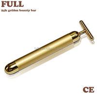 2015 New Design T Shape Facial Massager Beauty Bar 24K Gold Beauty Bar