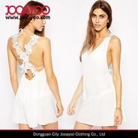 Fashion Women Ladies V-Neck Crochet Cross Back Beach Party Dress