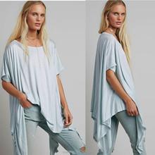 Asymmetrical hem short sleeve ladies fashion plus size tee top