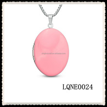 Pink Locket Pendant in Stainless steel 2015 Wholesale Open Necklace