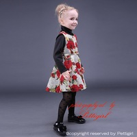 New Arrival Girl Floral Dress Autumn Style Print Baby Cloth With Belt Cotton Sleeveless Holiday Girl Costume GD80928-6