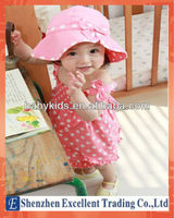 Small Hat with Bowknot and Dotted Skirt with Shoulder-straps Baby Suit